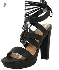 Delicious Women's Ranch Open Toe Strappy Lace Up Ankle Tie Platform High Heel, Black, 75 M US - Delicious pumps for women (*Amazon Partner-Link)