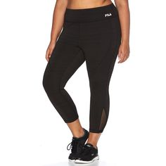 Plus Size FILA Sport® Signature Brushed Back Capri Running Leggings, Women's, Size: