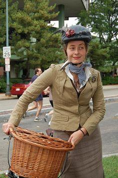 Tweed ride, look at her dressed-up helmet!