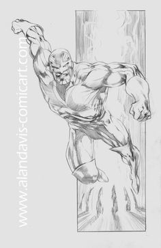 This is a sketch of Captain Britain, drawn by Alan Davis.
