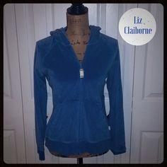 Liz Claiborne Velour Hoody Liz Claiborne Blue Zip Up Hoody Size Extra Large XL Liz Claiborne Sweaters