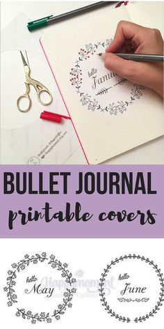 These bujo covers are so cute! I'm not very good at arty stuff but I love the pretty bullet journals so these look perfect. Just print, cut and stick. I like how you can color them in to make it more personalized too. #ad #bulletjournal #bujo #printable