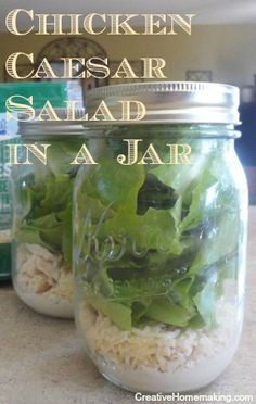 Easy recipe for homemade Chicken Caesar Salad in a Jar. Make up several on the weekend to enjoy for lunch during the week.