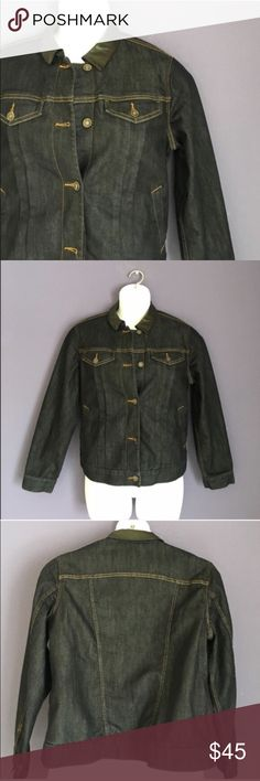 """Coldwater Creek Jean Jacket This dark wash, jean jacket with faux leather collar is thick and fun.  There is 100% Polyester filling in this jacket.  Front pockets on the sides.  Breast pockets. An overall great design. Like new.  Material:  73% Cotton/27% Elasterell.  Measurements:  Length - 24""""/Bust - 24""""/Waist - 23"""" Coldwater Creek Jackets & Coats Jean Jackets"""