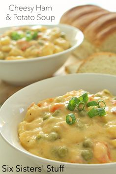 Cheesy Ham and Potato Soup Recipe on SixSistersStuff.com