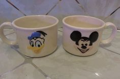 Vintage 1980s Disney Mickey Mouse & Donald Duck Embossed Ceramic Cups /Mugs…