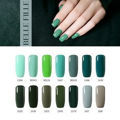 BELLE FILLE UV Gel Nail Polish 10ml UV LED Nail Gel dark green black ingigo Color Varnish Professional fingernail Polish