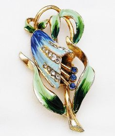Coro Signed Blue Enamel Bell Flower c.1940