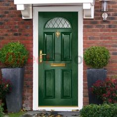 Lifestyle Image of External Simplicity Chilton Diamond Lead Composite Door, shown in Meadow Green