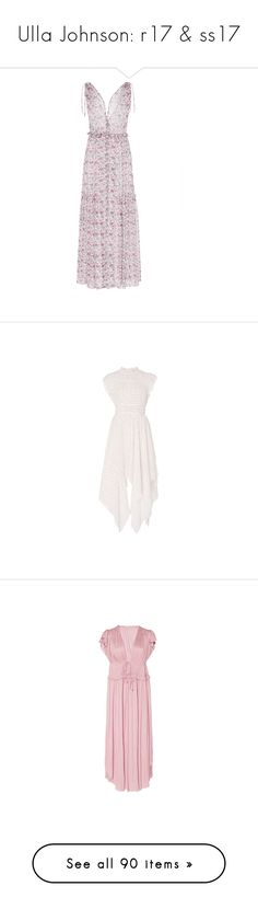 """Ulla Johnson: r17 & ss17"" by livnd ❤ liked on Polyvore featuring dresses, print, flounce dress, flutter-sleeve dress, frilly dresses, v neck dress, print dress, ruched dress, asymmetrical dress and pink asymmetrical dress"