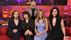 Graham Norton's guests are Carey Mulligan, Noomi Rapace, Amanda Holden, and Jessie Ware.