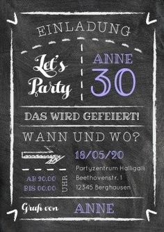Kreide-Party 30 | Einladungskarte in modernem Design