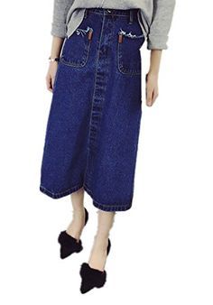Enlishop Womens Blue High Waist Stretch Knee Length A Line Denim Pencil Skirt ** Check this awesome product by going to the link at the image.