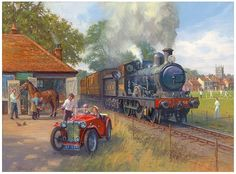 Out of EssexOut of Essex - Out of EssexOut of Essex - Out of Essex by Robin Pinnock Train Posters, Railway Posters, Train Pictures, Art Pictures, British Railways, Nature 3d, Art Transportation, Steam Railway, Train Art