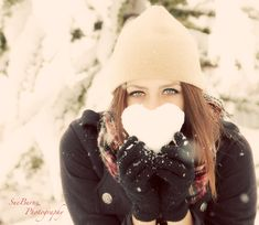 Portrait in the snow! Snow heart.