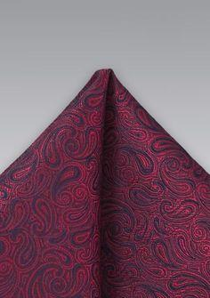 Seidenes Einstecktuch mit dezentem Paisleymuster in rot