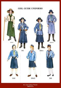 Girl Guide Uniforms from 1908 - 1989 UK