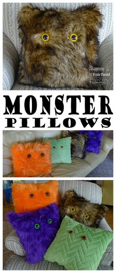 DIY Monster Pillows Make DIY Monster Pillows that kids can use year round. All you need is faux fur, giant animal safety eyes, and fiberfill stuffing. Find the tutorial for these DIY Faux Fur Monster Pillows from Pieces by Polly at See Vanessa Craft. Halloween Crafts For Kids, Halloween Party Decor, Holidays Halloween, Halloween Diy, Fun Crafts, Halloween Tricks, Halloween Stuff, Halloween Halloween, Halloween Makeup