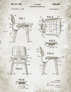 Drawing Design Patent Illustration from the Charles Eames DCW chair. Next step - Printed Version.for the Charles Eames DCW chair. Charles Eames, Chair Design, Furniture Design, Eames Furniture, Furniture Sketches, Eames Chairs, Gold Furniture, Porch Furniture, Furniture Showroom