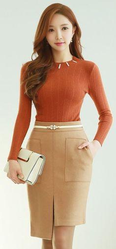 StyleOnme_Front Slit Asymmetrical Hem Pencil Skirt #beige #pencilskirt #asymmetric #chic #feminine #stylish #fall #winter #koreanfashion #kstyle #seoul #elegant #front #slit