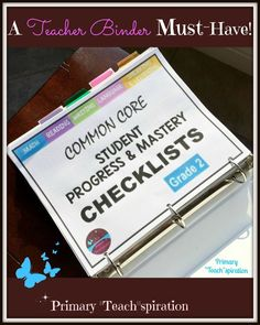 Easily organize and track math and ELA student progress for 2nd grade Common Core standards. Read about how to use it and get the FREE whole-class math checklist.  #commoncorechecklists, #commoncoreorganization, #trackstudentprogresssecondgrade