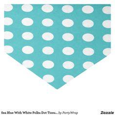 """Sea Blue With White Polka Dot Tissue Paper 10"""" X 15"""" Tissue Paper"""