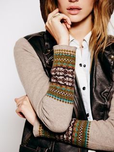 Free People Vegan Leather Motorcycle Sweater Jacket    with sweater knit sleeves at Free People Clothing Boutique