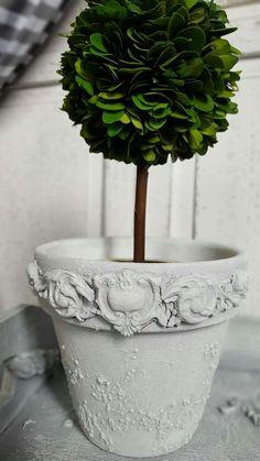 embellished & painted flower pot