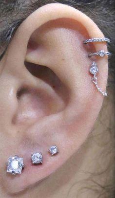 Triple Ear Piercing, Cartilage Piercing Hoop, Ear Peircings, Cute Ear Piercings, Tongue Piercings, Helix Piercing Jewelry, Double Cartilage, Piercings Rook, Conch Piercing Ring