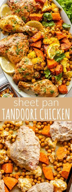 Tandoori Chicken is a beautiful and easy dish prepared with flavorful bone-in chicken marinated in yogurt with a rainbow of classic Indian spices, and then roasted on a bed of chickpeas, sweet potato, and cauliflower. So delicious and so good for you!#sheetpan #chicken #chickendinner #tandoori