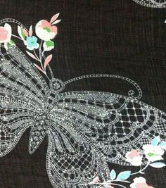 Simply Silky Prints-Lace Butterfly Black Yoryu at Joann.com