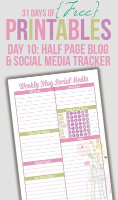 Free Printable - Half Page Blog & Social Media Tracker