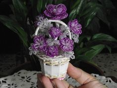 Floral Basket of French beaded flowers