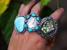 Silver Fox Cluster Ring Size 6.75. Natural by AppaloosaDesigns