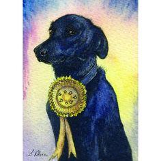 Labrador Retriever black lab mini art ACEO - a Susan Alison watercolour miniature painting 2.5x3.5 gun dog rosette what a good dog