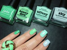 piCture pOlish Ombre mani creation by Fashion Polish! Featuring Jade, Honeydew, Tiffany and Sky! Totally gorgeous!