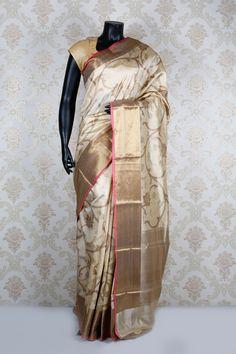 #Cream #banarasi silk zari weaved pretty #saree with light #gold border.-SR11722