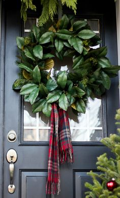 45 Easy DIY Dollar Store Christmas Decorations for Decorating on a Budget - The Trending House Tartan Christmas, Christmas Scarf, Christmas Porch, Christmas Mantels, Christmas Love, Outdoor Christmas, All Things Christmas, Christmas Holidays, Christmas Wreaths