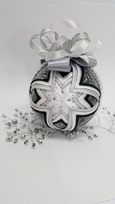 Black and white quilted ball/ No sew decoration/ handmade gift/ Holly mother and child fabric ornament by AngelsHandmadeCrafts on Etsy