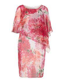 Gina Bacconi Chiffon dress with asymmetric wrap in Red / White