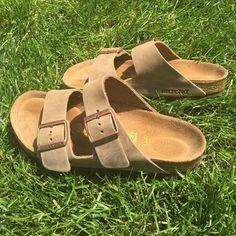 Like new size 37 Birkenstock sandals. Lower on ♏️ Tobacco colored leather. Original 2 buckle sandals. Size 37. I'm a women's size 7 and they fit great! Just not my style, impulse buy Birkenstock Shoes Sandals