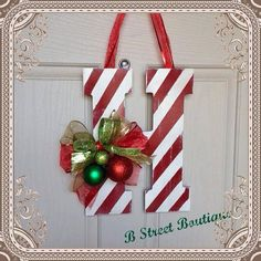 Christmas themed Hanging Letter by bstreetboutique on Etsy, $20.00