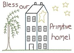 Bless Our Primitive Home Sampler - 5x7 | Primitive | Machine Embroidery Designs | SWAKembroidery.com HeartStrings Embroidery