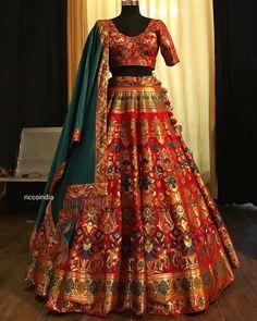 Minimal elegance in this beautiful with brocade dupatta in red and aqua green! Designer Bridal Lehenga, Bridal Lehenga Choli, Indian Lehenga, Brocade Lehenga, Indian Bridal Outfits, Indian Designer Outfits, Half Saree Designs, Blouse Designs, Bridal Lehenga Collection