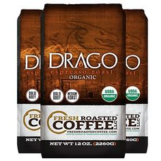 Drago Organic Espresso Blend Coffee 12 oz Whole Bean Bags Fresh Roasted Coffee LLC 3 Pack  Whole Bean *** You can get more details by clicking on the image. (This is an affiliate link) #RoastedCoffeeBeans