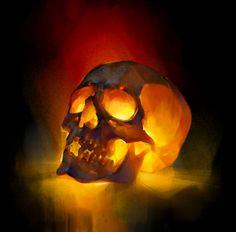 Glowing skull, Ola Karambola Starodubtseva on ArtStation at https://www.artstation.com/artwork/EanNK