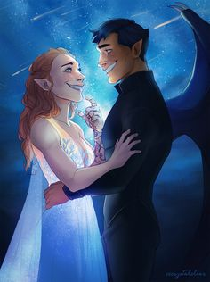 """""""Starfall is one of my favorite moments in acomaf, and I finally got around to draw it"""" by cccrystalclear"""