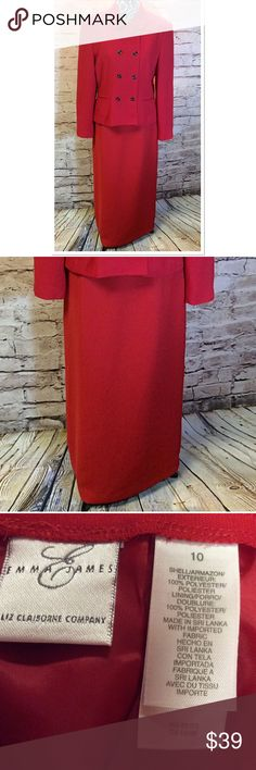 """SZ 10. EMMA JAMES BY LIZ CLAIBORNE RED MAXI SKIRT Beautiful piece that's very classy and dressy. Zips in the back and fully lined. HIGH WAIST Measurements lying flat. Waist 14.5"""" Hips 20.5"""" Length 36"""". Jacket sold in a separate listing Emma James Skirts Maxi"""