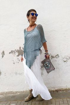 Chal de algodón top de mujer de verano chal para boda | Etsy Summer Cover Up, Ribbon Yarn, Wide Pants, Poncho Sweater, The Chic, Lace Skirt, Etsy, Summer Dresses, Wedding Dresses