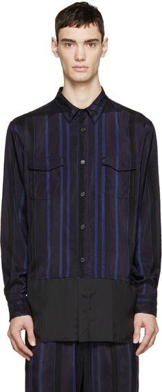 3.1 PHILLIP LIM Black & Blue Striped Combo Shirt. #3.1philliplim #cloth #shirt
